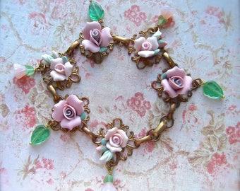 Vintage Brass, Brass Filigree Bracelet, Filigree and Roses, Vintage Ceramic Roses,Czech Bell Caps,Czech Glass,Romantic Flowers,Rose Bracelet