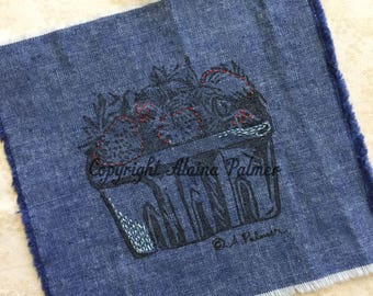 Handprinted Hand Carved Summer Strawberry Quart on Denim Fabric Label Patch with Embroidery Details Red and Aqua Stitchery