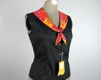 Vintage 1950's Blouse 50's NOS Cotton Shirt with Handkerchief Print Ascot Collar Size M Unworn