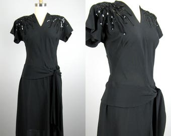 Vintage 1940s Black Rayon Dress 40s Sequinned Cocktail Dress Size M