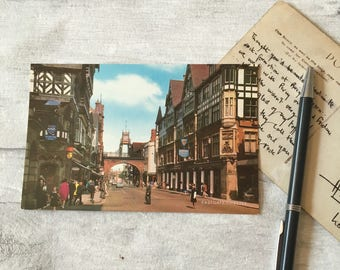 Eastgate Chester postcard by Salmon, unposted postcard, chester uk, british city photo, greetings card uk, vintage postcards uk