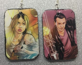 Upcycled Doctor Who Comic Book Earrings