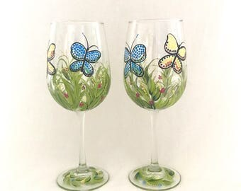 Hand painted butterfly design pair of wine glasses can be personalized