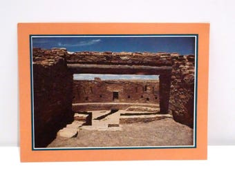 Chaco Canyon Postcard 6 by 8 Vintage Great Kiva of Rinconda Chaco Culture National Park Never Used Large Oversized Color 1970s Plattermatter