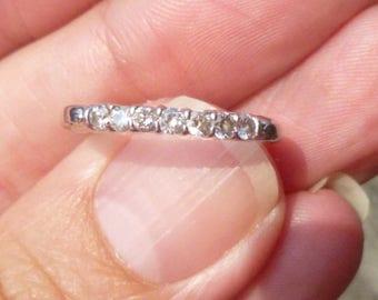 Vintage Deco . 25 Diamonds Platinum Engagement Wedding Band stacker