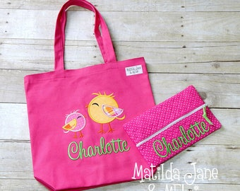 Girls Birdie Applique Cotton Canvas Tote Bag,Personalized Wipes Case,Kids Library Tote, Car Bag,Diaper Bag,School Bag,Toy Bag,Beach Tote
