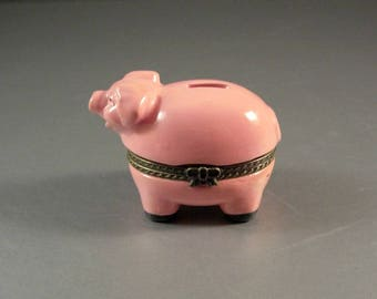 Porcelain PIG Trinket Collectible Stash Jewelry Box BANK