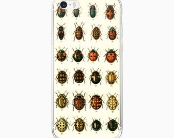 Vintage BEETLES Ladybugs iPhone Case, iPhone 7, iPhone 7 Plus Case, Entomology Insects iPhone 6s 6 plus 5/ 5s/ SE Cover