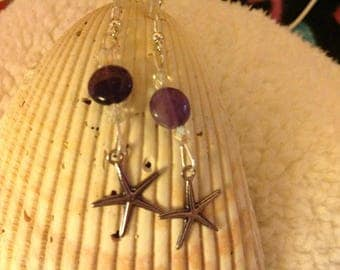 Star Fish and Amethyst Earrings