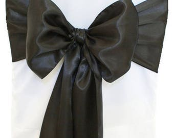 Chair Sashes , Black Satin,  Wedding Chair Sashes Chair Bows Satin Pew Bows Party Bows Event Sold Individually