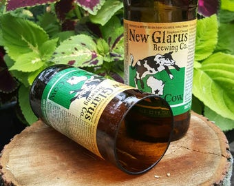 Set of hand cut New Glarus Spotted Cow beer bottle glasses