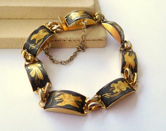 Vintage Signed IA Black Gold Damascene Flowers Birds Link Women's Bracelet BB14