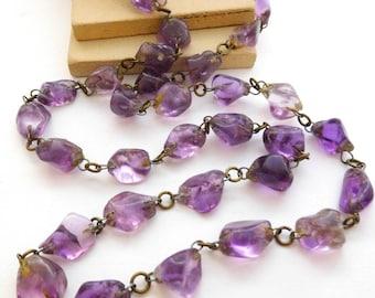 Vintage Antique Art Deco Purple Amethyst Nugget Bead Chain Necklace F22