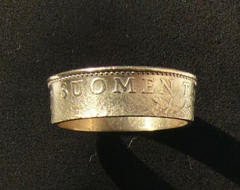 Bronze Coin Ring 1988 Finland 50 Pennia, Ring Size 9 and Double Sided