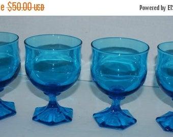 on sale Caribbean blue glasses set of 4  vintage glass  blue glassware hexagon base  vintage barware