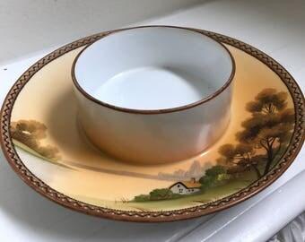 Antique Moriage Nippon Blue Maple Leaf Mark Chip Dip/Serving Bowl