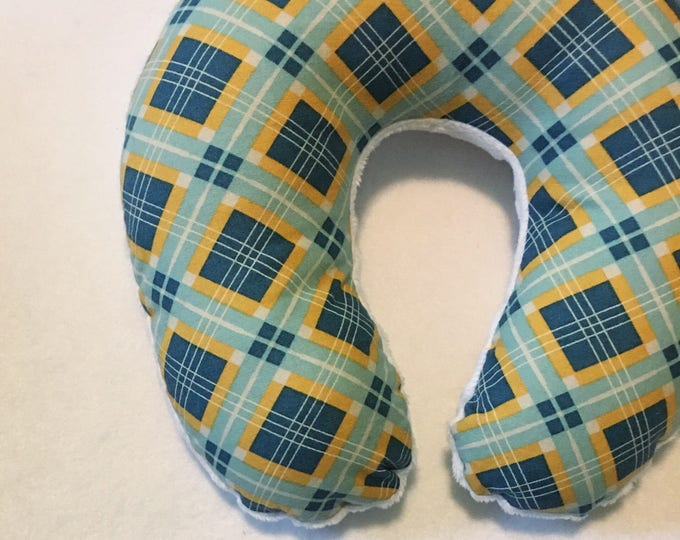 Blue Argyle Travel Neck Pillow for Children and Adults