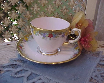 Dainty Hand Painted English Bone China Demitasse Cup and Saucer