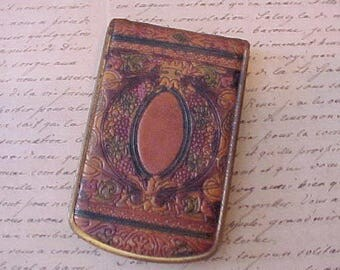 Lovely 1920's Art Deco Era Hand Tooled Moroccan Leather Compact by Mondaine