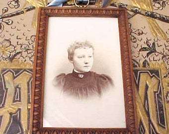 Handsome Framed Victorian Sepia Photograph of Young Woman