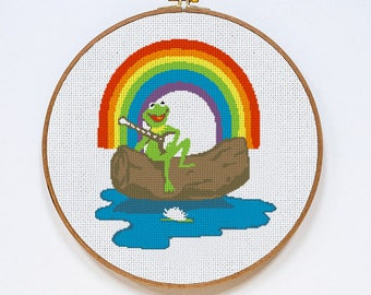 The Rainbow Connection Kermit the Frog Muppets cross stitch pattern, Instant Download, PDF