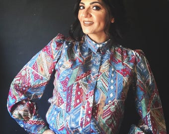 Vintage Levi Strauss & Co. Aztec Puffy sleeves blouse
