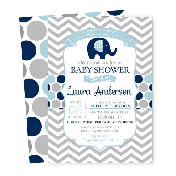 Navy Elephant Baby Shower Invitation Boys - Grey Chevron - Cute - Jungle - Sprinkle - Classic - Party Printable - Printing - Personalized