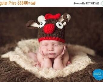 Happy Birthday sale Reindeer crochet hat for baby