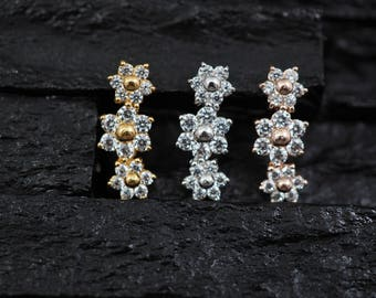 Triple CZ gems stone flower push in 16g bio flexible for conch / cartilage / helix earring