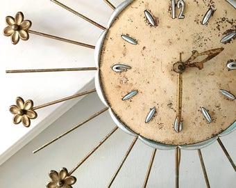 Vintage Starburst Clock Wall Clock Midcentury Robert Shaw