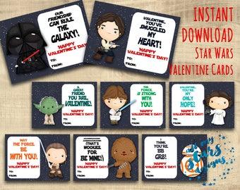 Star Wars Valentine Cards - Set of 8 Classroom Valentines | Instant Download | Star Wars Valentines | Treat Tags | Darth Vader Valentines