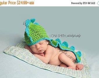 SUMMER SALE Dinosaur Hat Spring Green Turqua - Child Photo Prop Girl Boy Costume Halloween  Christmas Gift Winter Outfit