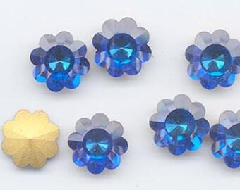 Super rare! Four vintage Swarovski flowers with rivoli backs - Art. 1701 - 14 mm - bermuda blue