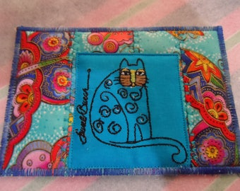 Quilted Postcard - Laurel Burch Postcard - Handmade  Postcard - Fabric Postcard - Patchwork  Postcard - Artist Postcard -  Post Card