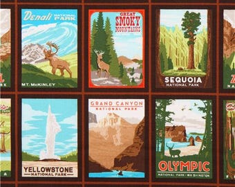 Out of Print - Robert Kaufman - Explore America - National Parks - Vintage - PANEL Fabric