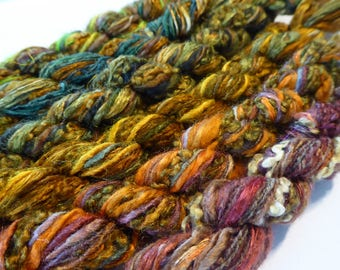 6 skeins of hand dyed silk threads a great mix of weights and textures - threads 14