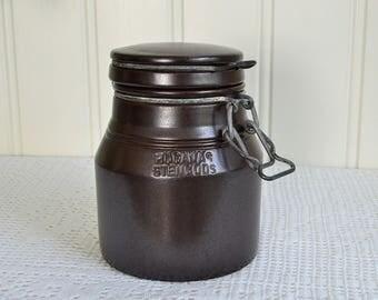 Ceramic Höganäs jam pot with lid, vintage Swedish brown Hoganas stoneware, farmhouse kitchen utensil