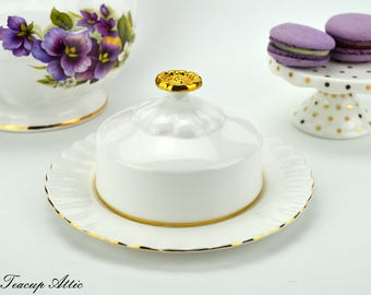 Royal Albert Val D'Or Butter Dish, English Bone China Vintage Butterdish, ca. 1962