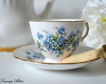Royal Vale Teacup and Saucer With Blue Forget-Me-Not Flowers, Vintage English Bone China Tea Cup, Garden Tea Party,  ca. 1962-1964
