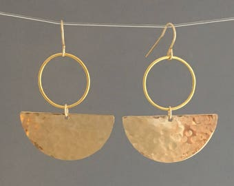 Hammered Half Disc Hoop Earrings in Gold or Silver