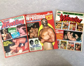 1977 Professional Wrestling Magazines Set of Three, Inside Wrestling, Victory Sports Series, The Best of The Wrestler, Father's Day