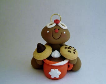 Gingerbread Man - Hot Cocoa and Cookies - Polymer Clay - Christmas - Holiday Ornament
