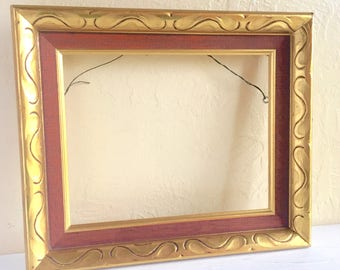 Mid-Century Gold Wood Picture Frame with Red Wood Accent 8x10 Ready to Hang 1960s Very Unique