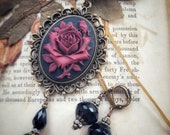 BESPOKE ROSES Victorian Rose Limited Edition Rose Cameo and Onyx Earrings Set