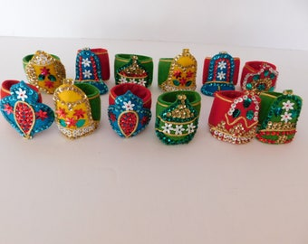 Amazing Vintage Christmas Napking Holders - I think they are Hand Made - Wonderful Sequins - Very Rare Christmas Decoration