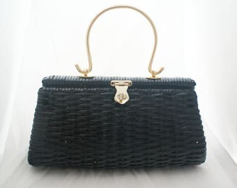 Purse- Large Black Wicker Free standing Picnic Purse retro 60's with gold hardware handle