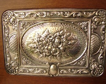vintage 950 silver, wooden hinged box with carved,real silver,ornate roses on lid.Greek Pandoras box.