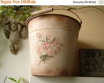 3 day SUMMER SALE 15% OFF French pink painted,distressed tin bucket or pail,with shabby pink roses decoupage & wooden carrying handle