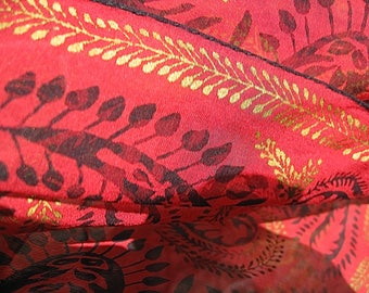 Vera Neumann Chiffon Paisley Scarf with Metallic Gold on Red and Black Mid Century Small Scarf is Rare Signed Premium Article See Details
