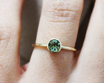 Green Tourmaline Ring, Solitaire Engagement Tourmaline Ring, Gold Tourmalin Bezel Ring, Gold Kiss Stacking Ring, March Birthstone Tourmaline